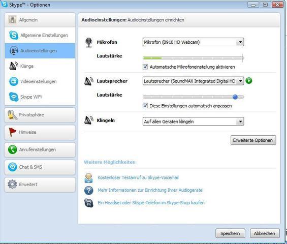 Skyp Optionen - (Skype, Lautsprecher)