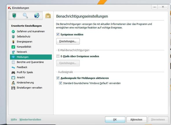 Kaspersky Audisignale ausschalten - (Computer, PC, Internet)