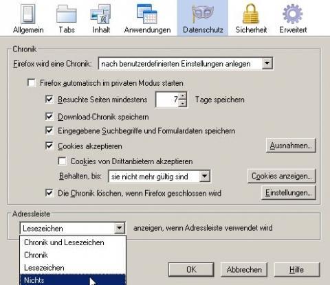 Einstellungen - (Firefox, Browser, Verlauf)