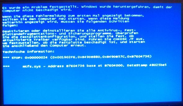 Bluescreen Windows XP Nr. 2 - (PC, Hardware, Netzteil)