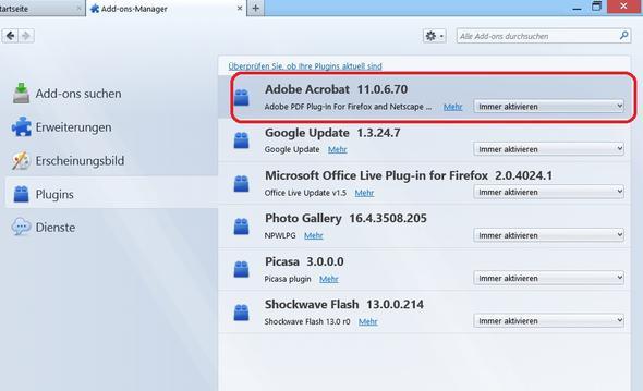 Firefox-Plugin Adobe Reader - (Firefox, PDF)
