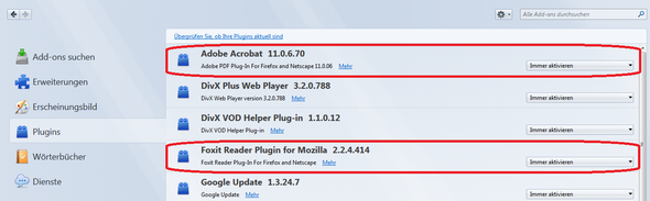 Meine Plugin-Situation - (Firefox, PDF)