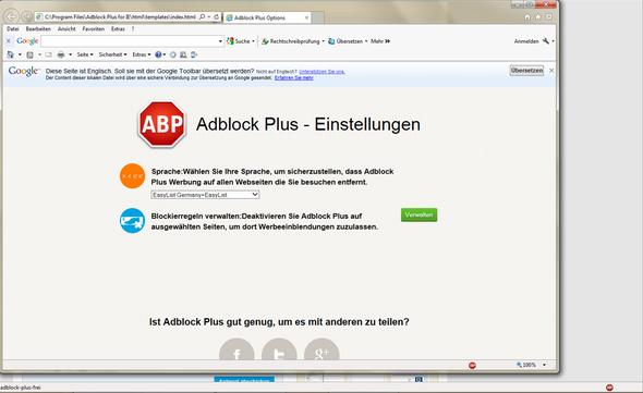 ABP Menü geöffnet über Symbol unten rechts - (Internet, Werbung, Explorer)