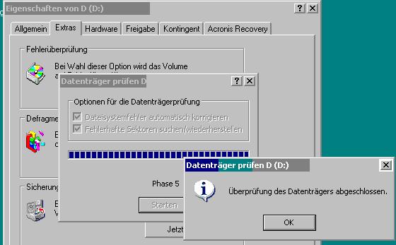 Bordeigenes Checkdisktool bei Win XP - (Winzip, schwebende Sektoren)