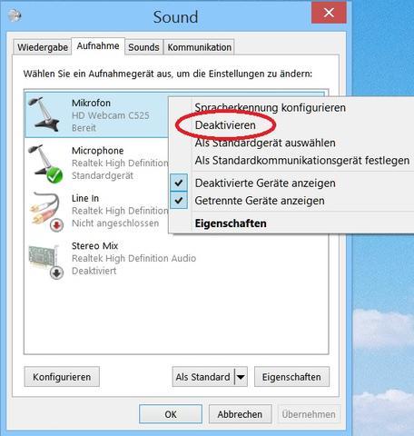 Mikrofon deaktivieren - (Treiber, Webcam, Gerätemanager)