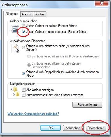 Win7,  Ordneroptionen - (Ordnerorganisation, Windows Organisation)