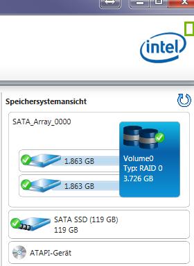 Intel Rapid storage treiber - (Speicherplatz, RAID)