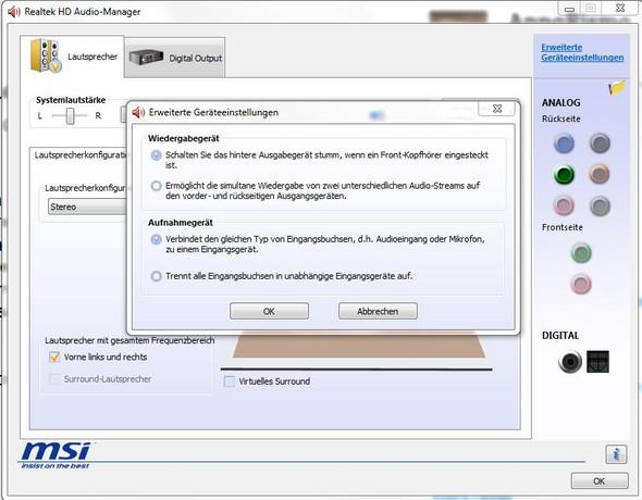 Erweiterte Geräteeinstellungen - (Computer, PC, Sound)