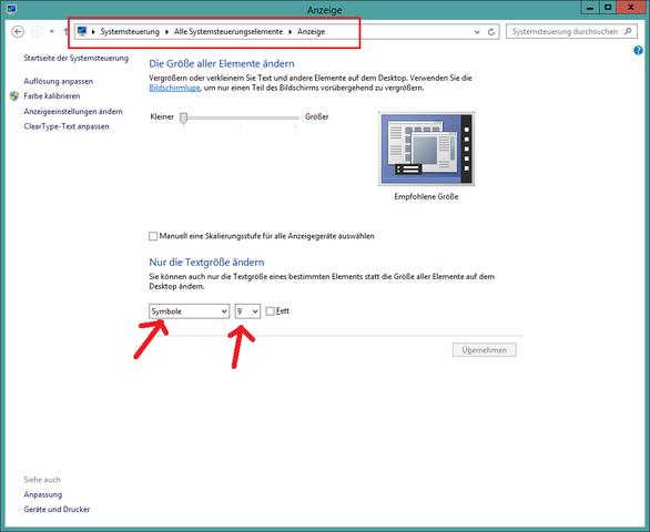 Schriftgröße ändern - (Desktop Icon, Schriftgröße ändern)