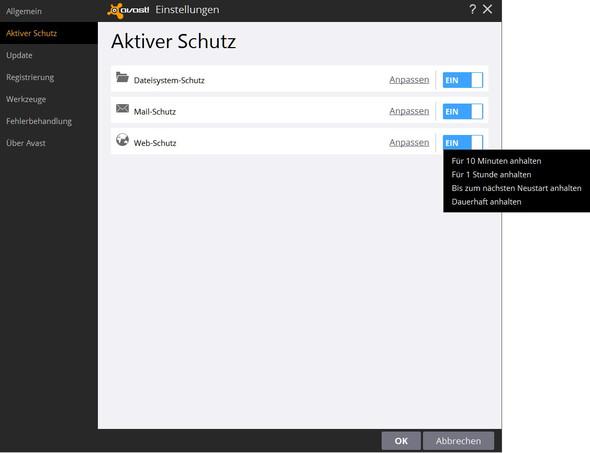 Avast, Webschutz deaktivieren - (Avast Webshield, blockiert Zugriff)