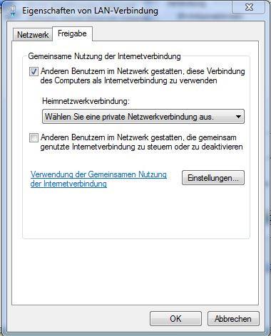 Im Reiter Freigabe  - (Computer, Internet, WLAN)
