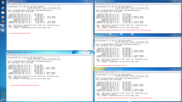 Tests mit Crystal Disk Mark - (in DesktopPC schlecht, SSD zu schlecht, in Laptop gut)