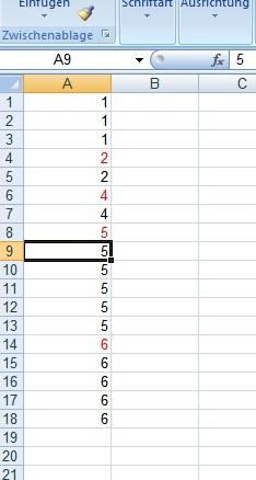 Erste Ziffer einer Zeile anders wenn darüber liegende Zahl anders. - (Office, Excel, Tabelle)