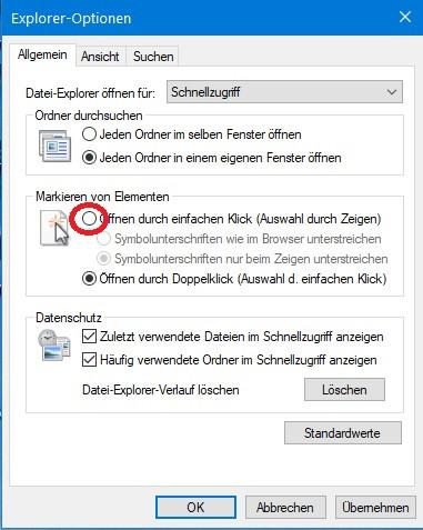 Explorer-Optionen - (Windows 10, Deaktivieren, Doppelklick)