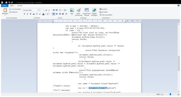 - (Javascript, Formular)