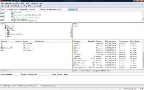 FileZilla Ansicht - (wordpress, FTP, Filezilla)