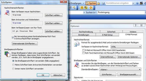 Outlook Schriften - (Email, Einstellungen, outlook)