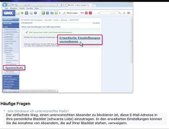 gmx Absender blockieren - (GMX-Email, Emails abweisen)