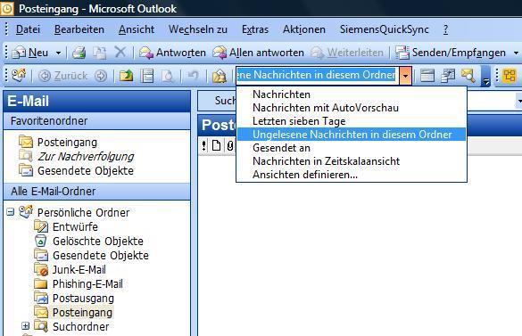 Outlook Auswahl ungelesene Mails anzeigen - (E-Mail, outlook, Mail)