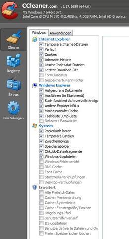 CCleaner, sichere Haken - (Win 7, CCleaner, Win Log Files)