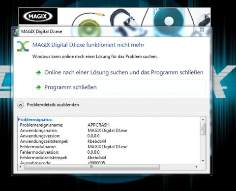 Fehlermeldung  - (Audio, Magix, Digital DJ)