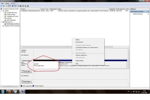 Verwaltung - (Windows 7, Festplatte, Partition)