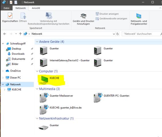 2 PC's aber nur jeweils einer erkennt das Netzwerk?