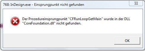 Fehlermeldung InDesign.exe - (Fehlermeldung, nicht gefunden, Prozedureinsprungspunkt)