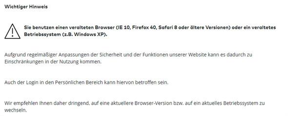 Fehleranzeige 1 - (Firefox, Fehlermeldung, Alter Browser)