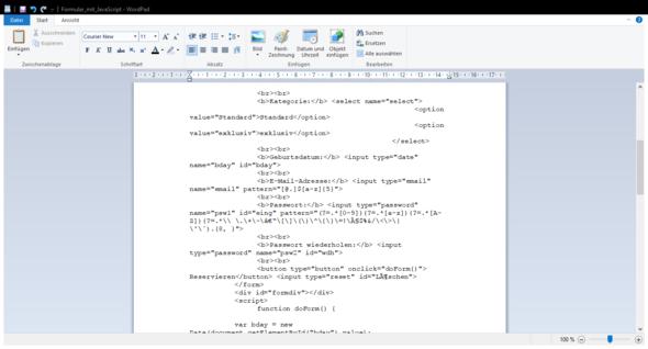 Nr 2 - (Informatik, Javascript, Formular)
