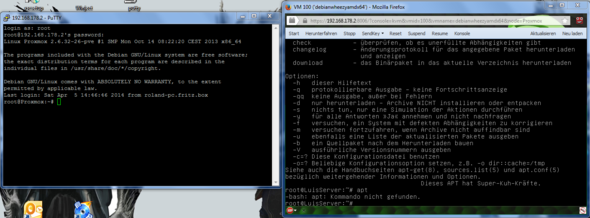 Während auf der linken (Java) Konsole alles funzt, kennt Putty keinen Befehl :( - (Java, virtuelle Maschine, Debian)