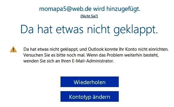 Outlook 3 - (Outlook 2016, Einrichtung scheitert)
