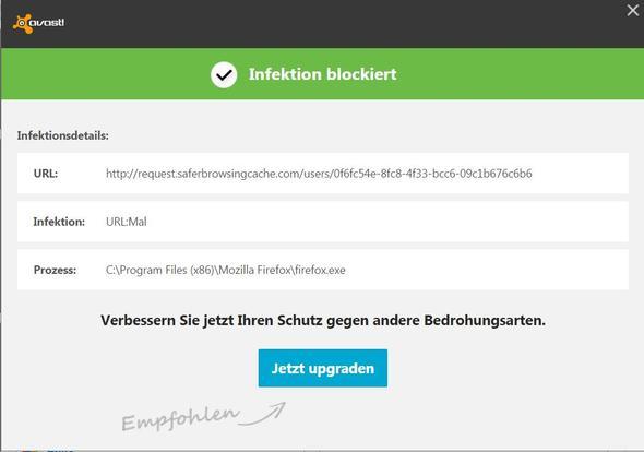 Infektion - (Avast, Firefoxstart, Infektion blokiert)
