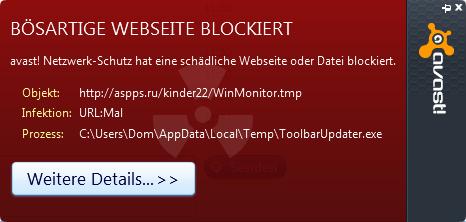 Avast findet ständig verdächtige Homepage, auch wenn ich nicht im Internet bin!