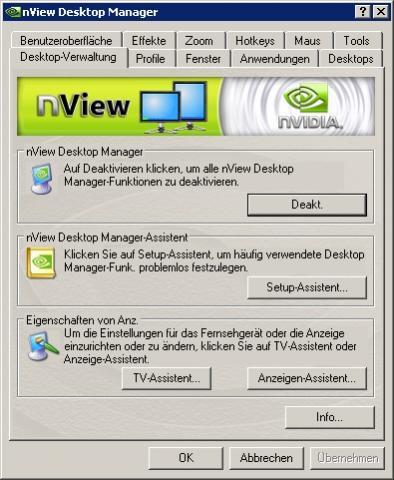 """Bei NVIDIA's nView-Desktopmanager sind die Einstellungen bei jedem PC-Start wieder """"deaktiviert"""""""