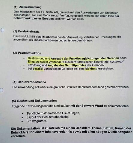 Aufgabenstellung  - (Programmierung, schule, C Sprache)