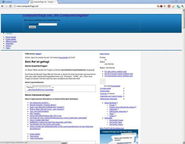 So wird computerfrage.net bei mir angezeigt. - (Website, Google Chrome, Darstellung)