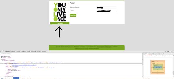 Der Upload-Button steht über. - (HTML, CSS, hochladen)