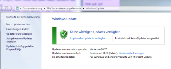 Ein Windows Update wird nicht installiert !?!