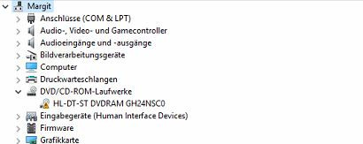 Erkennt Windows 10 automatisch den gesuchten Treiber für den DVD Brenner ?