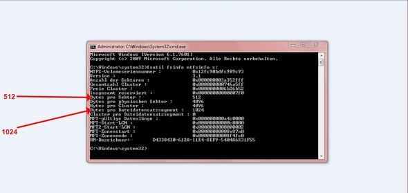 Externe 1TB Festplatte - Sektorgröße und Dateidatensatzsegment ändern