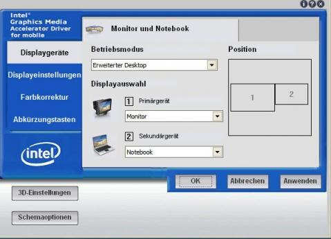 Grafikeinstellungen Intel - (Notebook, Monitor, dockingstation)