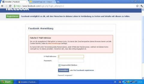 - (Facebook, Anmeldung, Mailadresse)