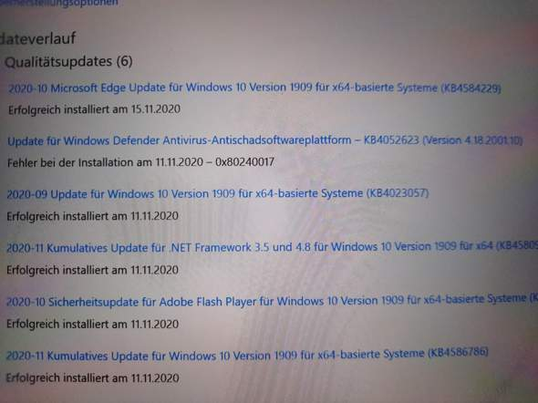 Feher bei Installation von Windows Update?