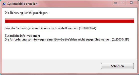 Windows 7 Backup Fehlermeldung  - (Windows 7, Backup)
