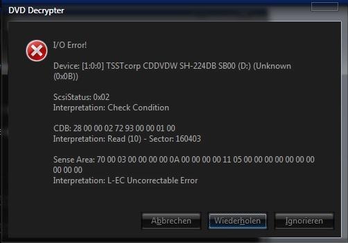 Error Message - (software, Festplatte, dvd)