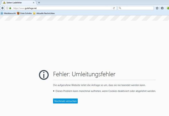 Fehlermeldung - (Firefox, Webseite, Gutefrage)