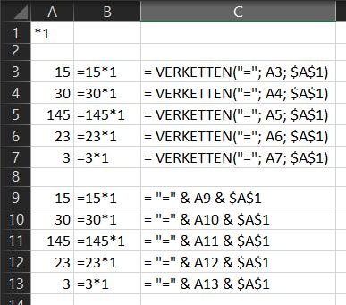 Formel in Excel verknüpfen/verketten/zusammensetzen?