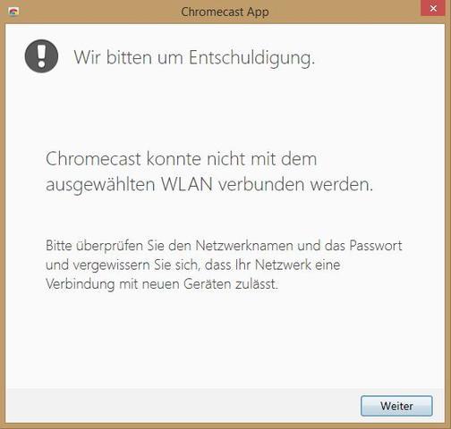 Google Chromecast konnte nicht mit dem ausgewählten WLAN verbunden werden!