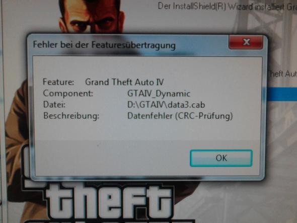 GTA IV Installation: Fehler bei der Featuresübertragung